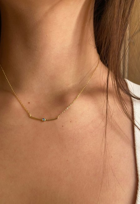 SS JEWELRY Bar Opal Necklace - Gold