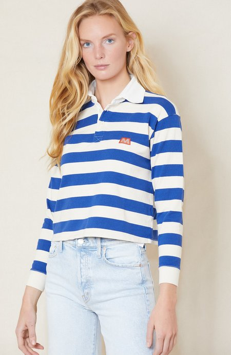 Mother Denim Long Sleeve  Boxy Polo Crop Tee - Game On