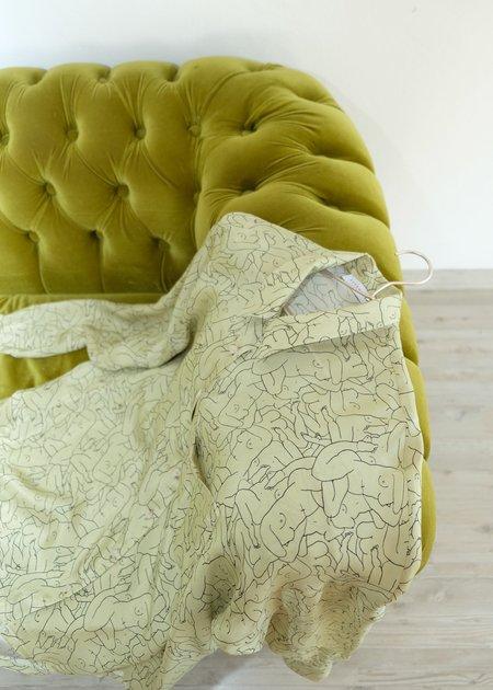 OhSevenDays Monday Marwa Illustrated Vegan Silk Boxy Blouse - sage