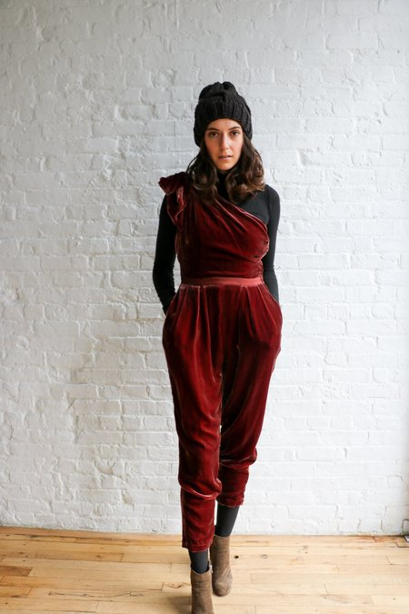 PRE-LOVED Ulla Johnson Tess Velvet Jumpsuit - Dark Mauve