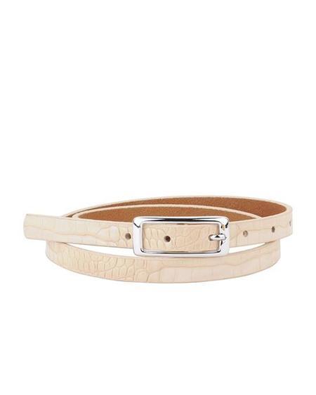 MW Skinny Leather Croc Belt - Cream