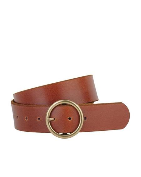 MW Wide Circle Buckle Leather Belt - Tan