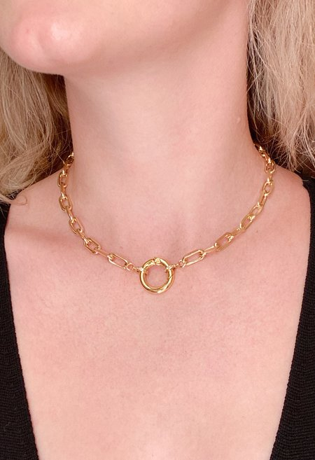 SS JEWELRY Front-Clasp Chain Necklace - Brass