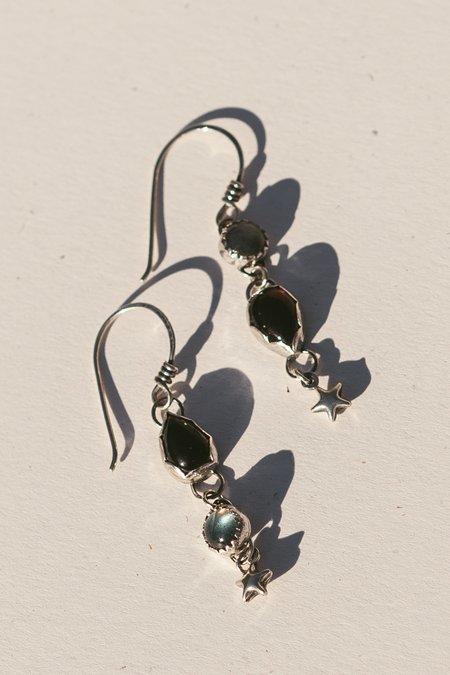 Blue & Blue Asymmetrical Star Dangle Earrings
