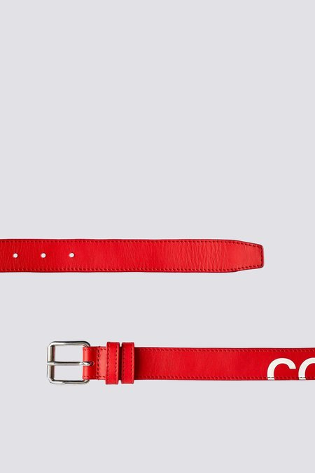 Comme des Garçons Leather Huge Logo Belt - Red