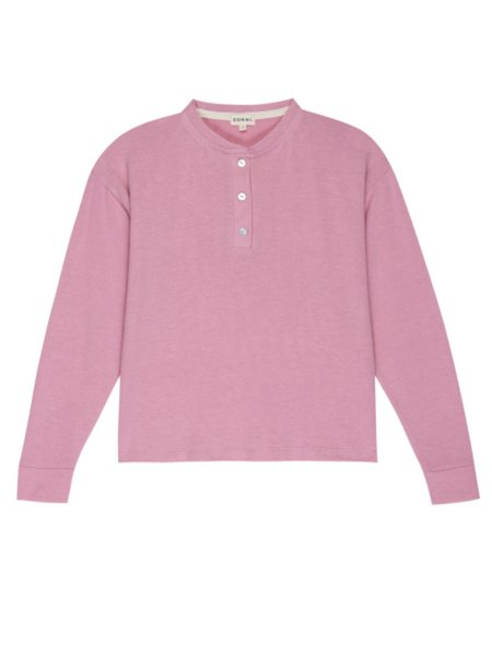Donni. Henley Sweater  - Rose