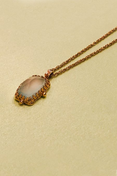 """Becky Kelso Rectangular Calcite Necklace on 15.5"""" 14k Gold Chain"""