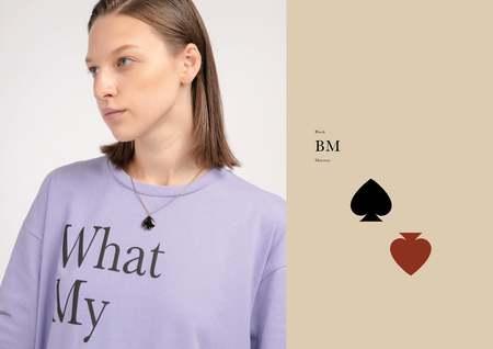 Matter Matters Spade Necklace - Black/Maroon