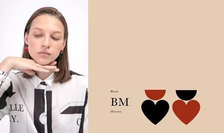 Matter Matters  Love & Half Earrings - Black/Maroon