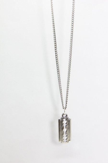 The Silver Stone Razor Blade Necklace - Silver