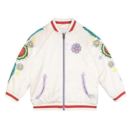 Kids Stella McCartney Satin Bomber Jacket - White/Flower Embroidery