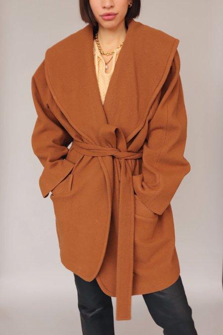 Dear Society  Wool Wrap Coat - Vintage Brown