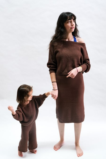 Raised By Water Scooped Back Sweater - Chocolate