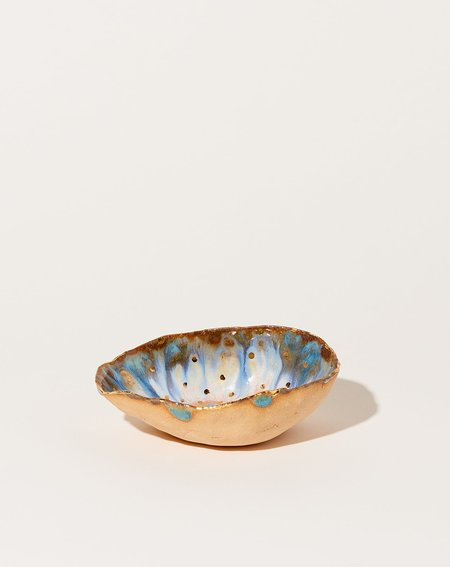 Minh Singer Extra Small Iceland Dish - Blue Lagoon with Gold Dots