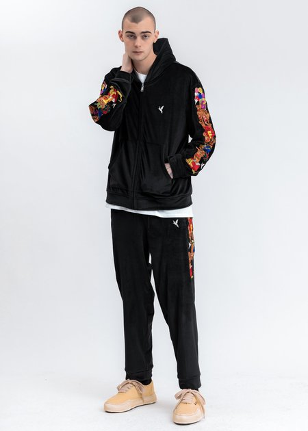Doublet Chaos Embroidery Comfy Zip Up Hoodie - black