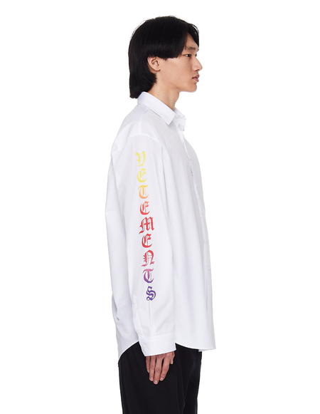 Vetements White Shirt With Logos On Sleeves