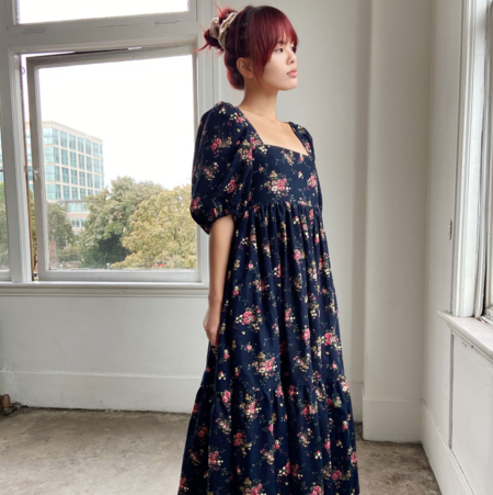 Bronze Age Serenity Puff Sleeve Dress - Navy Floral Cord