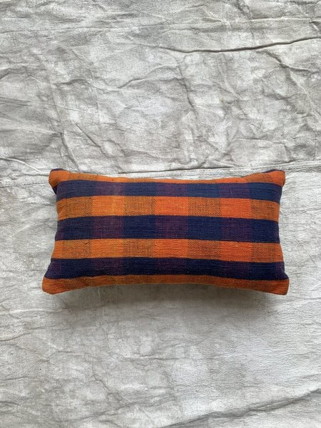 Cuttalossa & Co. Plaid Mini Lumbar Pillow 8 x 16'' - Tangerine/Denim