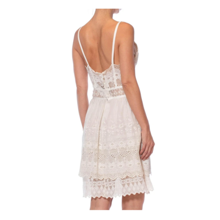 Vintage Morphew Cotton Victorian Lace Mini Dress - White