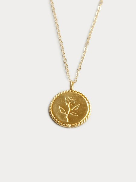 Wolf Circus Rose Coin Pendant - 14k gold plated