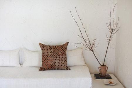 nomad collective Kuba Cloth Pillow - brown/black/natural