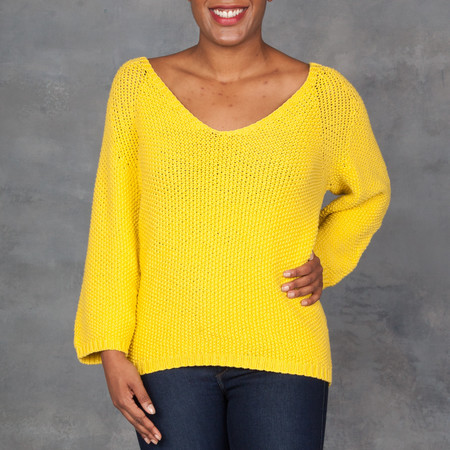 Humanoid Wig V-Neck Sweater in Citron
