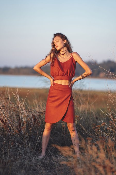 Arraei Collective Wade Wrap Skirt - Rust