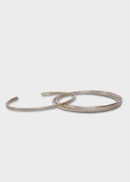 Agas & Tamar Flat Ridged Bracelet - Silver