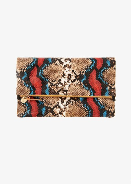 Clare V Foldover Clutch w/ Tabs - Garden Snake Red