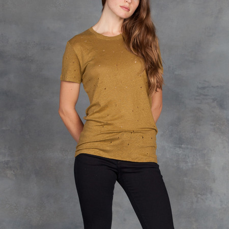 IRO Clay Short Sleeve Tee with Deconstructed Holes in Army Olive