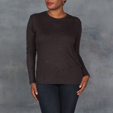 IRO Marvina Long Sleeve Tee with Distressed Holes Charcoal