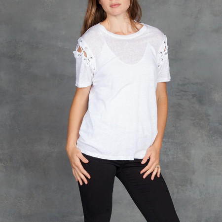 IRO Rachel Linen Shoulder Lace Up Tee in White