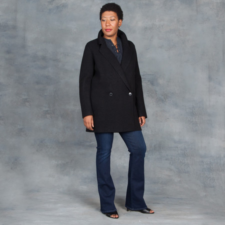 LINE Ingrid Double Breasted Pea Coat in Caviar