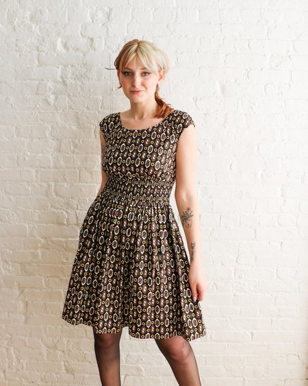 Pre-loved Prada Printed Fit & Flare Mini Dress - Black/Brown Print