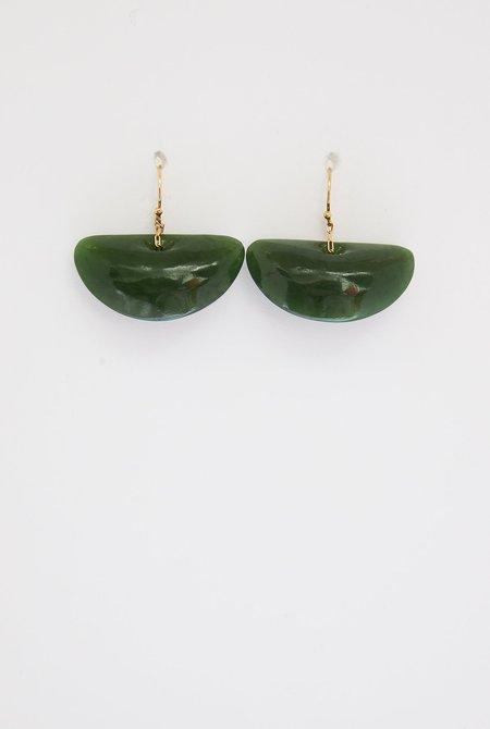 TEN THOUSAND THINGS Jade Ginko Leaf Earrings - 18k Gold