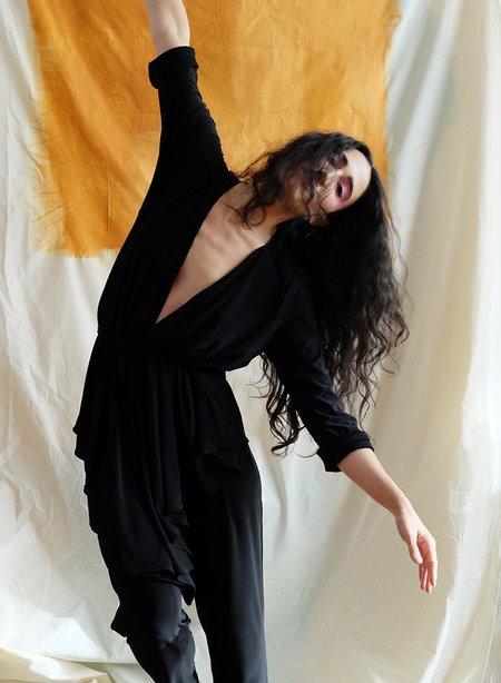 Meg Movement Wrap Top - Black
