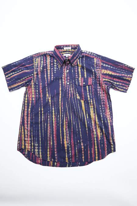 Engineered Garments Cotton Popover BD Shirt - Navy Lawn Batik Stripe