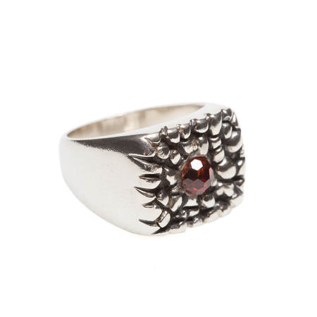 Vrients DI-TO Fragment ring with red garnet - silver