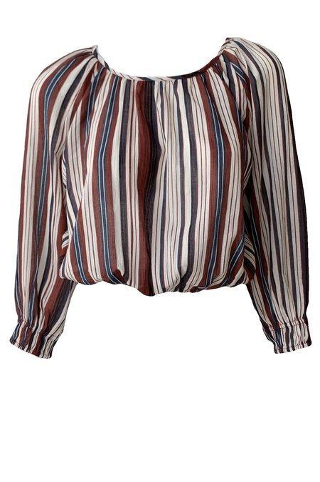 Apiece Apart Kiran Shirred Striped Crop - Sienna Stripe Siesta