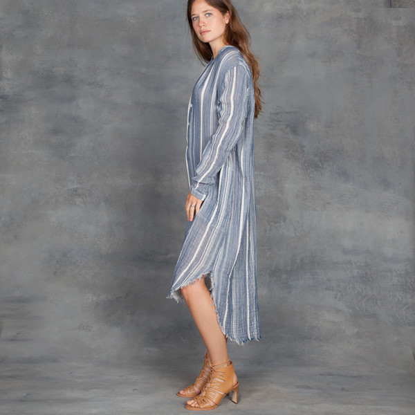 Raquel Allegra Cotton Gauze Henley Dress in Blue Stripe