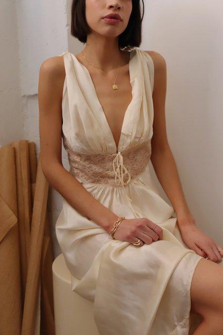 Dear Society Vintage 1930s Satin Gown - Cream