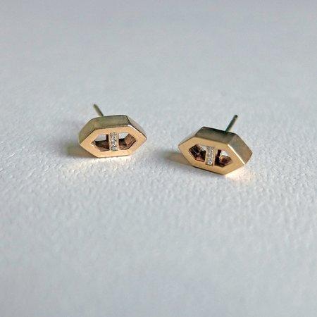 Lacar Diamond Mini Helm Earrings - 10k gold