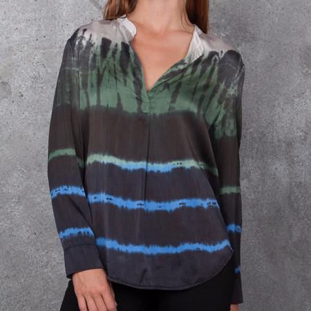 Raquel Allegra Tie Dye Silk Henley Blouse