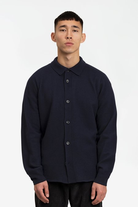Norse Projects Martin Boiled Wool Sweater - Navy
