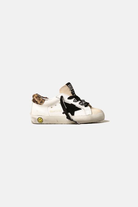 Kids Golden Goose Toddler Superstar Shoes - White/Leopard Heel/Black Star