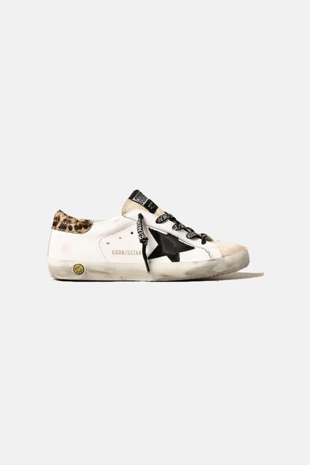 Golden Goose Kids Superstar Shoes - White/Leopard Heel/Black Star