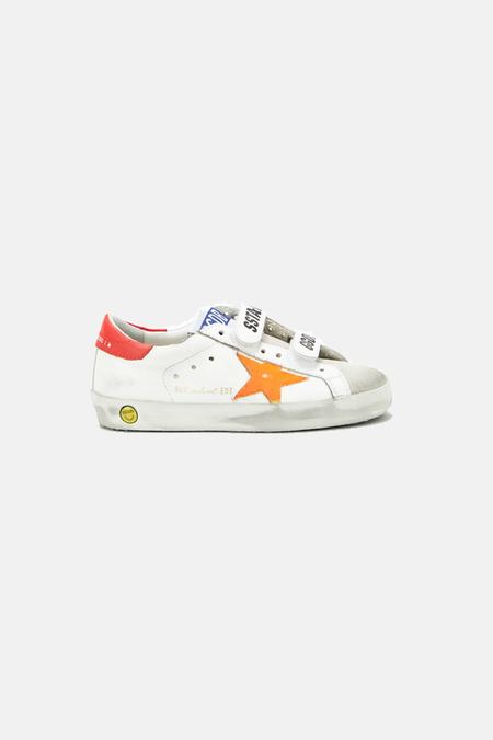 Kids Golden Goose Old School Shoes - White/Orange Flourecent Star