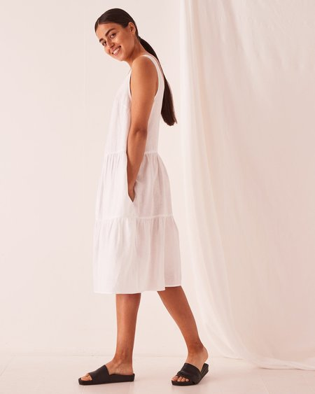 Assembly Label Tiered Linen Dress - White
