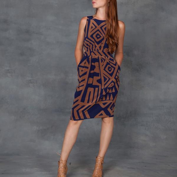 WHiT Doria Dress Tribal Print in Silk