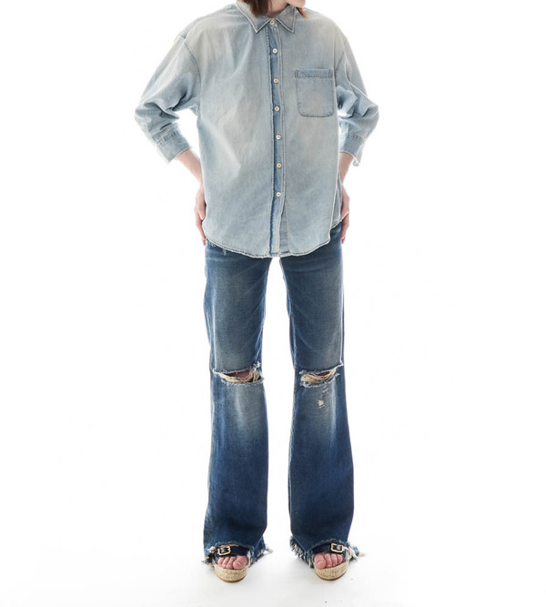 R13 Oversized Shirt with Cropped Sleeves